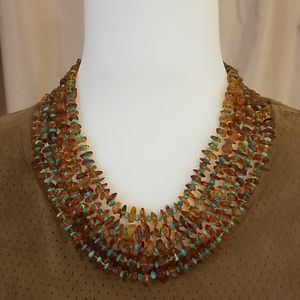 Jay King Amber and Turquoise Necklace